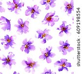 seamless pattern with violet... | Shutterstock . vector #609198554