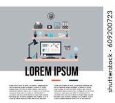 modern home office interior.... | Shutterstock .eps vector #609200723