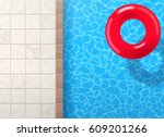 swimming pool ring with blue... | Shutterstock .eps vector #609201266