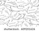seamless pattern with  shark... | Shutterstock .eps vector #609201626