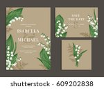 vintage wedding set with spring ... | Shutterstock .eps vector #609202838