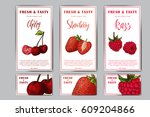 set of organic fruits cards.... | Shutterstock .eps vector #609204866