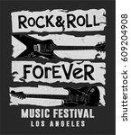rock festival poster. rock and... | Shutterstock .eps vector #609204908