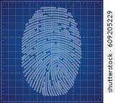 fingerprint scheme on blueprint   Shutterstock .eps vector #609205229