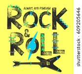 rock festival poster. rock and... | Shutterstock .eps vector #609205646
