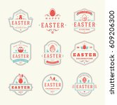 easter badges and labels vector ... | Shutterstock .eps vector #609206300