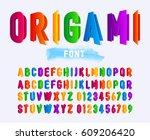 multi colored paper alphabet... | Shutterstock .eps vector #609206420
