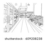 supermarket interior hand drawn ... | Shutterstock .eps vector #609208238