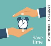 save time concept. businessman... | Shutterstock .eps vector #609210299