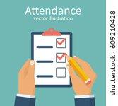 attendance concept. businessman ... | Shutterstock .eps vector #609210428