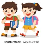 kids going to school with bag... | Shutterstock .eps vector #609210440