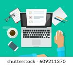 online form survey on laptop... | Shutterstock .eps vector #609211370