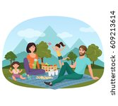 parents and children having a... | Shutterstock .eps vector #609213614