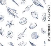 hand drawn seamless pattern... | Shutterstock .eps vector #609214874