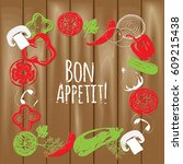 colorful chalk vegetables frame ... | Shutterstock .eps vector #609215438