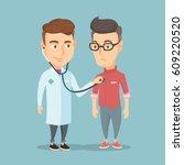 young caucasian doctor... | Shutterstock .eps vector #609220520