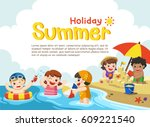happy kids play and swim at the ... | Shutterstock .eps vector #609221540
