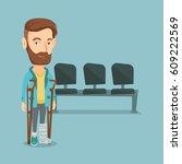 an injured caucasian man with...   Shutterstock .eps vector #609222569