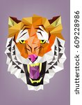 vector   tiger head polygon... | Shutterstock .eps vector #609228986