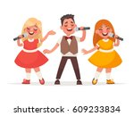 children's musical trio. a boy...