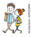 young couple  good friends | Shutterstock .eps vector #609233894