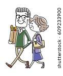 senior couple  good friends   Shutterstock .eps vector #609233900