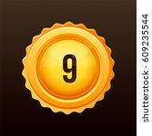 golden medal with numbers.... | Shutterstock .eps vector #609235544