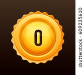golden medal with numbers.... | Shutterstock .eps vector #609235610