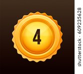 golden medal with numbers.... | Shutterstock .eps vector #609235628