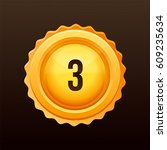 golden medal with numbers.... | Shutterstock .eps vector #609235634