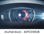 Narrow Cyber Eye. Close Up. 3d...