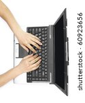 two female hands on the laptop...   Shutterstock . vector #60923656