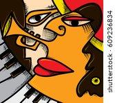 abstract jazz art  music... | Shutterstock .eps vector #609236834