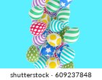 easter abstraction on a blue... | Shutterstock . vector #609237848