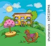 kindergarten with children's...   Shutterstock .eps vector #609238946