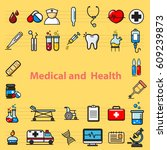 medical and health tools ... | Shutterstock .eps vector #609239873