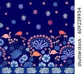 night japanese garden. seamless ... | Shutterstock .eps vector #609239954