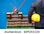 engineer on construction site... | Shutterstock . vector #609241133