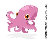 cute funny octopus | Shutterstock .eps vector #609243233