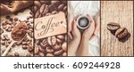 collage of coffee. a lot of...   Shutterstock . vector #609244928