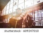 two friends traveling ... | Shutterstock . vector #609247010