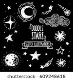 set of sketch stars  comets and ...