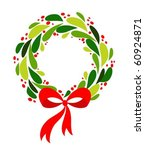 christmas wreath with red bow | Shutterstock .eps vector #60924871
