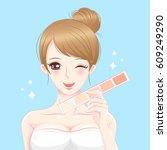 cartoon beauty woman with skin... | Shutterstock .eps vector #609249290