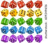 vector casino dice set of... | Shutterstock .eps vector #609249656
