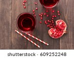 Ripe Pomegranates With Juice O...