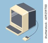 retro personal computer. old pc ... | Shutterstock .eps vector #609259700