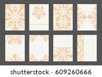 mandala card template set.... | Shutterstock .eps vector #609260666
