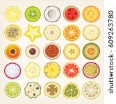 fruit slices illustrations.... | Shutterstock .eps vector #609263780