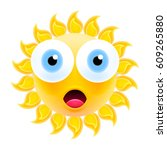 embarrassed sun emoticon with... | Shutterstock .eps vector #609265880